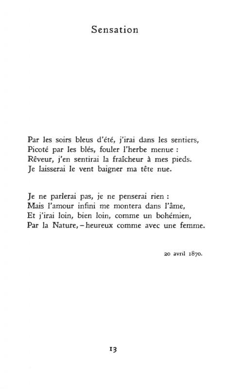 Sensation, Poème d'Arthur Rimbaud 1870