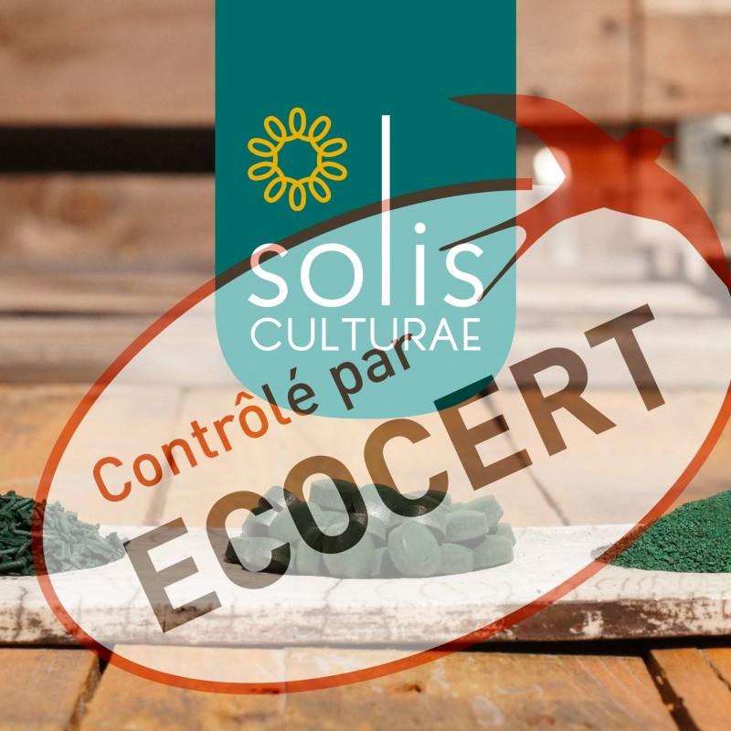 Solis Culturae a obtenu la certification Ecocert depuis 2020 pour sa spiruline très écologique, c'est le label privé le plus proche du Bio disponible pour les spiruliniers français.